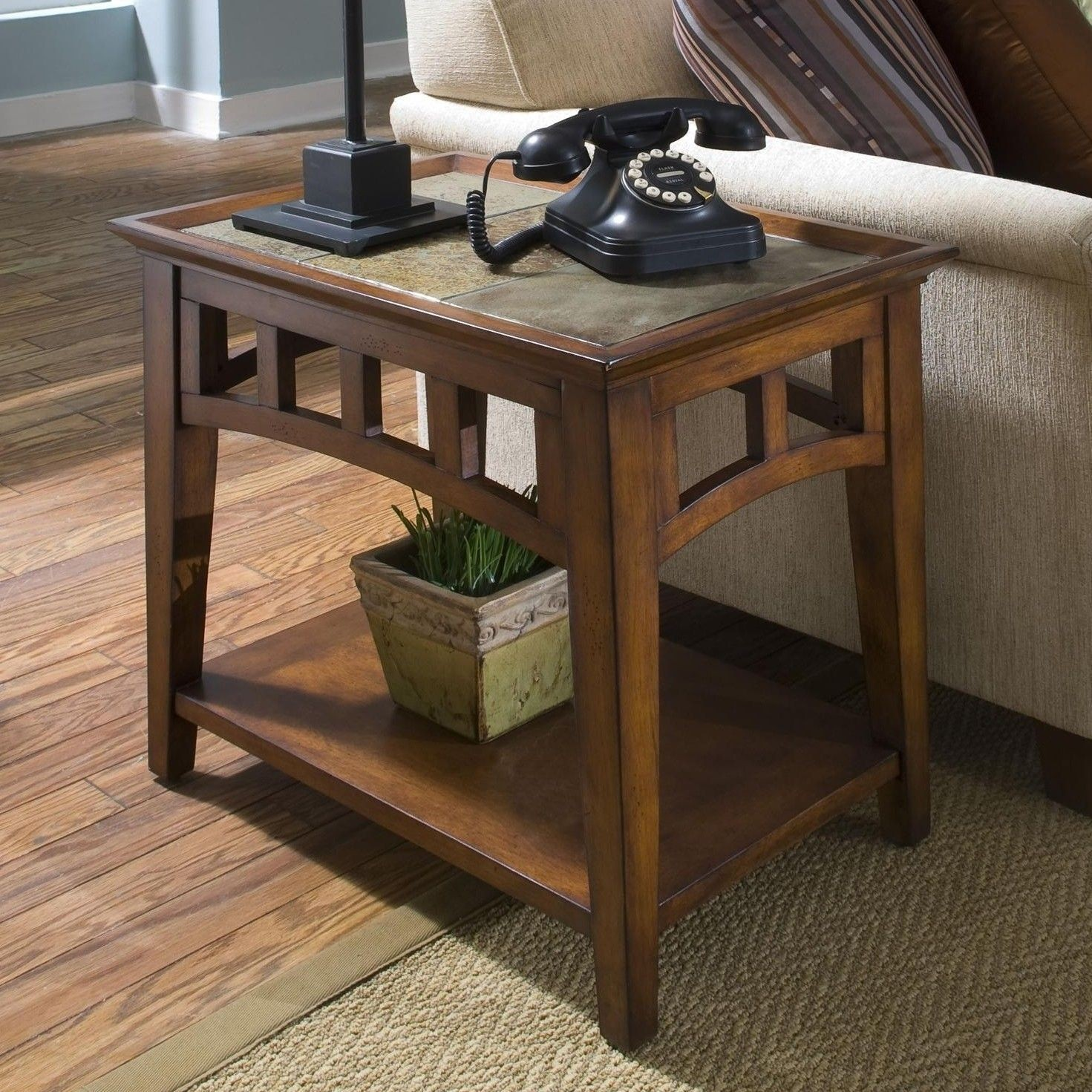 Genial Slate Top End Table 7