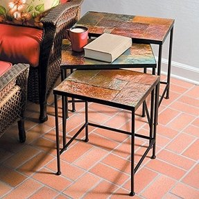Slate top end tables 22