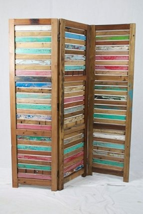 Solid reclaimed wood room divider 1