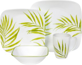 Square dinnerware set for 4