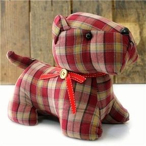 Tartan check patterned fabric doorstop red scottie dog door stop