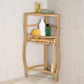 Teak Corner Shower Caddy - Foter