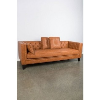 Genial Tufted Faux Leather Sofa
