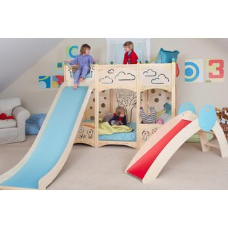 Twin bed with slide