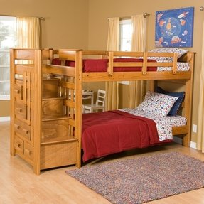 Twin over twin bunk beds with stairs