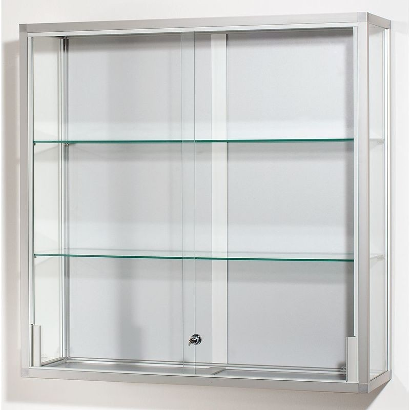Attrayant Wall Mounted Glass Cabinet Height 1000 Mm 2 Sliding Doors