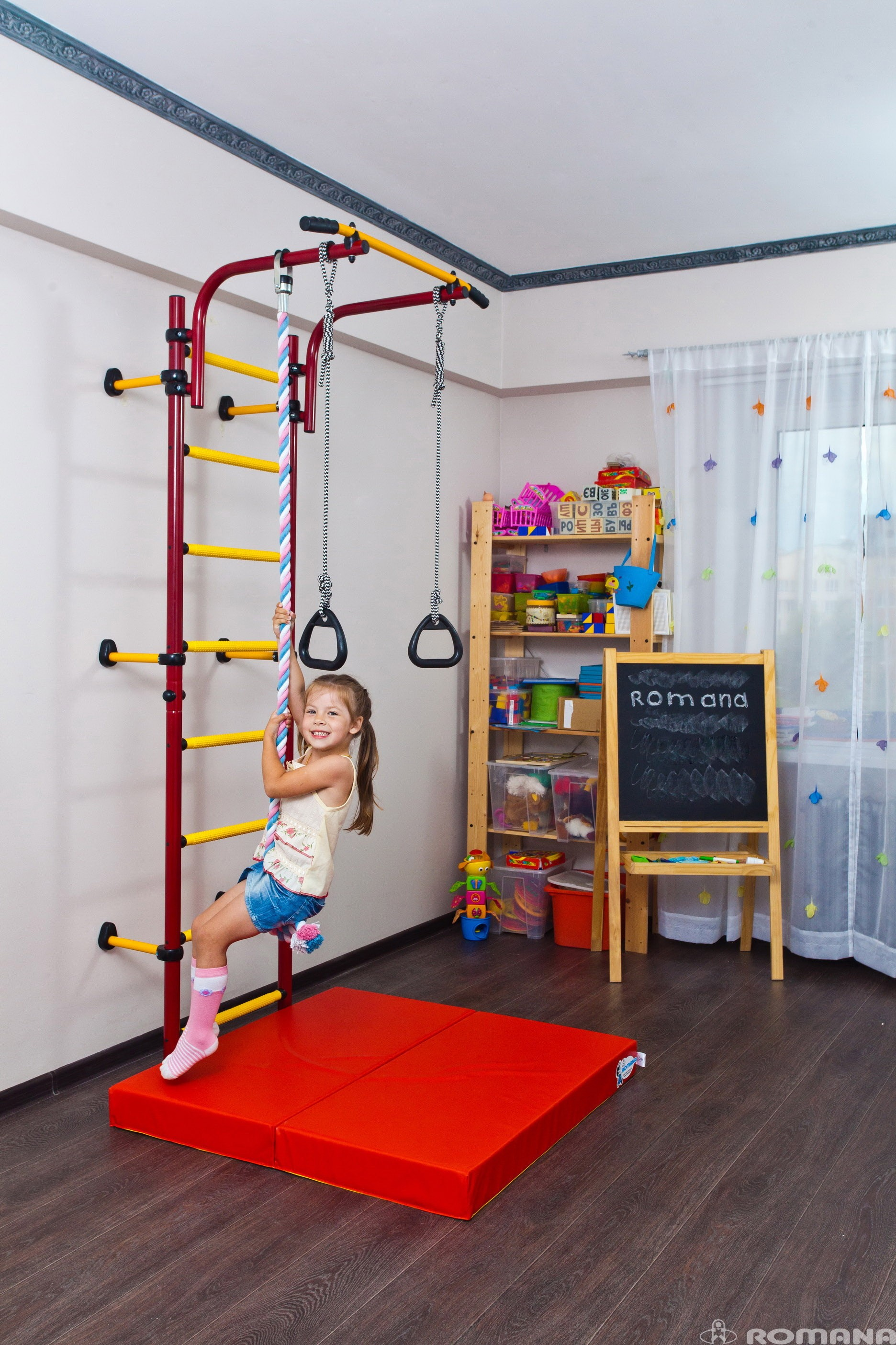 Wall Mounted Playground Set For Kids   Indoor Gym Training Sport Set With  Accessories Equipment:
