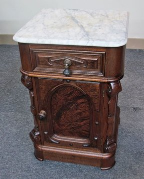 Walnut victorian marble top half commode night stand