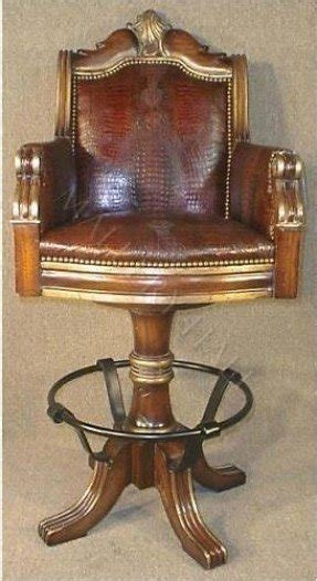 Western tooled brown leather bar stool with nail head trim