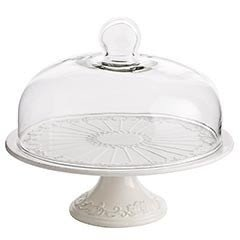 White cake stand with dome