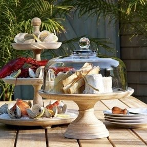 Wooden cake stand with glass dome