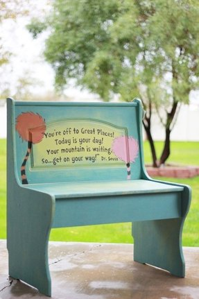 Adorable handpainted dr seuss childrens bench by shabbybride 165 00