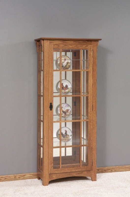 Amish Mission Style Single Door Curio Cabinet With Mullions 2