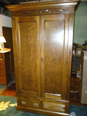 Antique oak wardrobe armoire w drawers shelves refinished knockdown made
