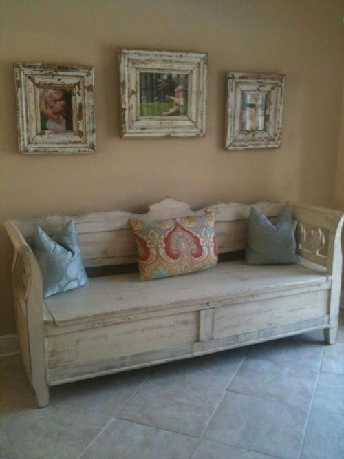 Antique Storage Bench Custom Overpainted In White Benches
