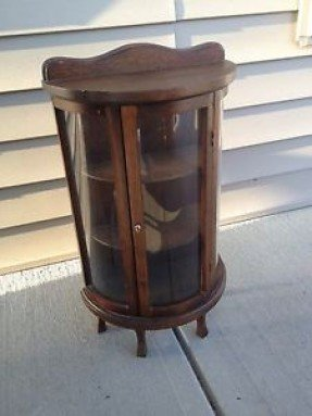 Antique Vintage Miniature Bow Front Curio Display Cabinet 1