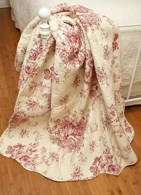Ballard french country red toile quilt throw