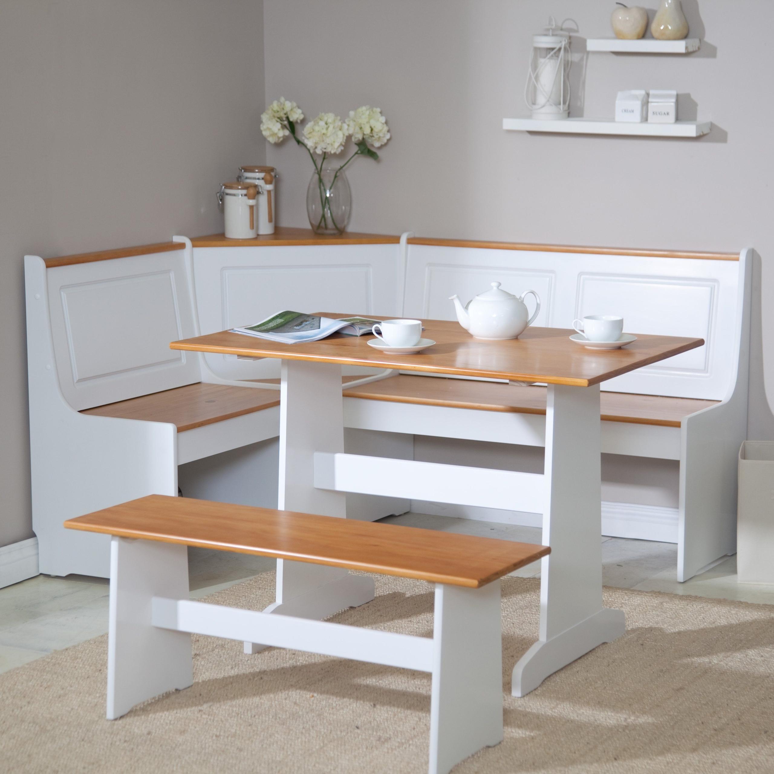 Beautiful Breakfast Nook 3 Piece Corner Dining Set White 1