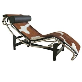 Brown leather chaise lounge chair 1