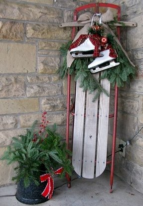 christmas sled interesting outdoor decoration - Decorative Christmas Sleigh Sale