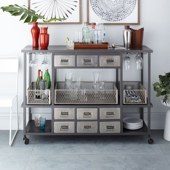 Cabinets, Drawers And Additional Utensils For Kitchen Utensils. Finished In  White With A Dark Top. Chrome Bar Cart