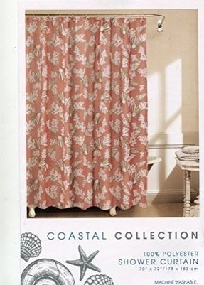 Coastal Collection Coral Seashell Fabric Shower Curtain