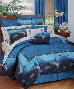 Coral Reef - Fish Bedding - 9 Piece King Comforter Set (1 Comforter, 1 Flat Sheet, 1 Fitted Sheet, 2 Pillow Cases, 2 Shams, 1 Bedskirt, 1 Square Accent Pillow) SAVE BIG ON BUNDLING!