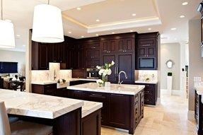 Espresso Cabinets With White Countertops
