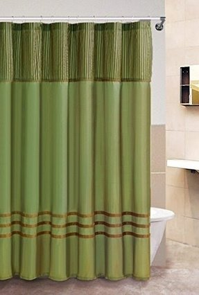Fabric Shower Curtain: Sage and Brown