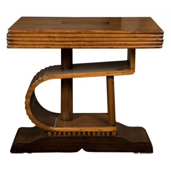 French Inlaid Wooden Art Deco Small Coffee Table For Sale