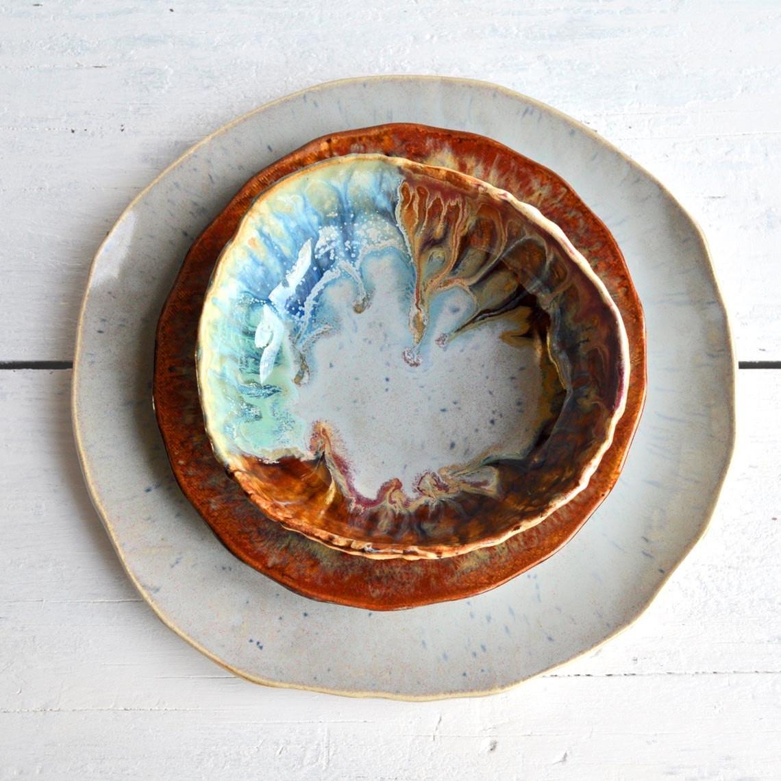 Handmade ceramic plates and bowls & Rustic Stoneware Dinnerware - Foter