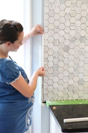 Honeycomb tile backsplash