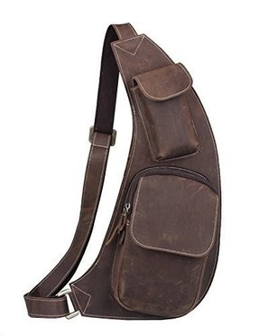 Kattee Genuine Cow Leather Cross Chest Shoulder Sling Bag Large Size