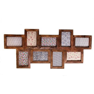 Large wooden collage 9 nine photo frame picture multi wood
