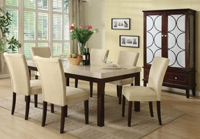 Marble top dining table set 1