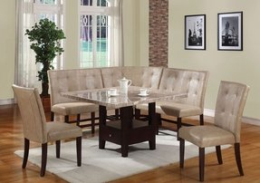 Marble top dining table set 2
