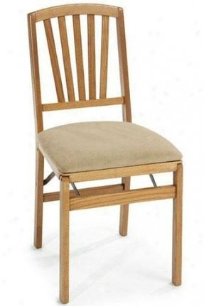 Medium oak contemporary folding chair set of two 1