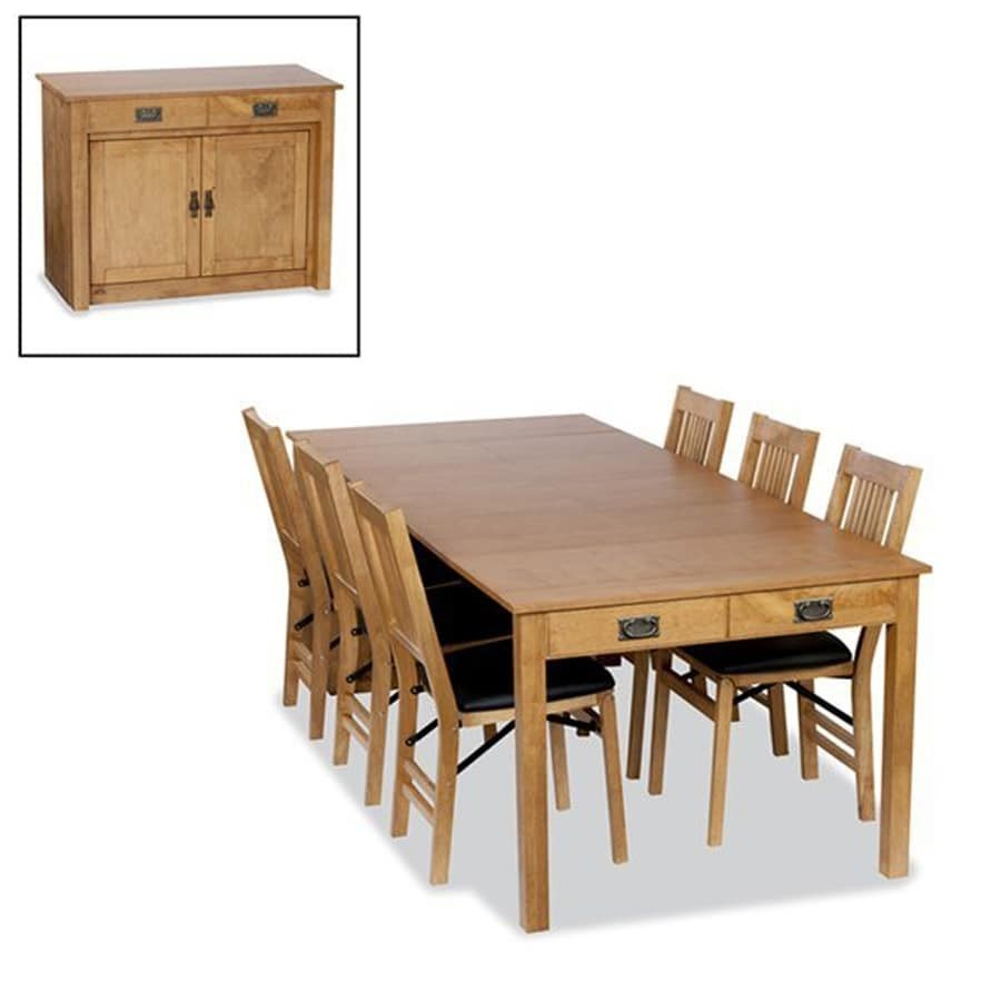 Mission Expanding Cabinet Dining Set With True Mission Folding Chairs