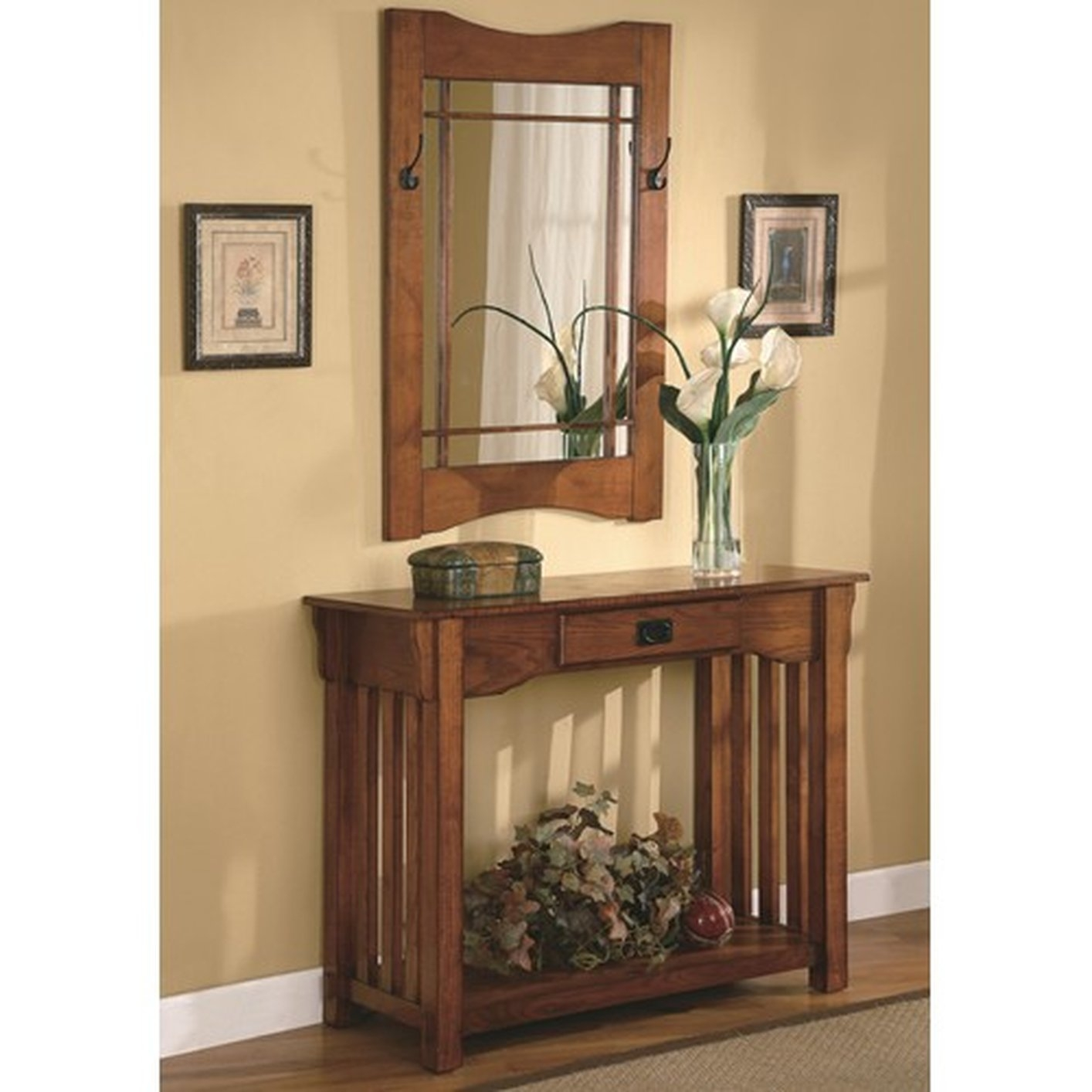 Oak Finish Mission Accent Console Hall Table And Mirror By Coaster 950060