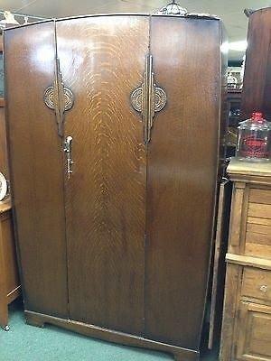 Beau Fabulous Art Deco Oak Wardrobe Armoire