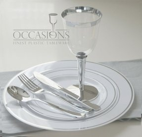 OCCASIONS Disposable Plastic Plates, silverware and wine cups