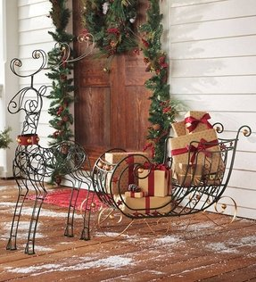 outdoor sleigh decoration 1 - Metal Christmas Decorations Outdoor