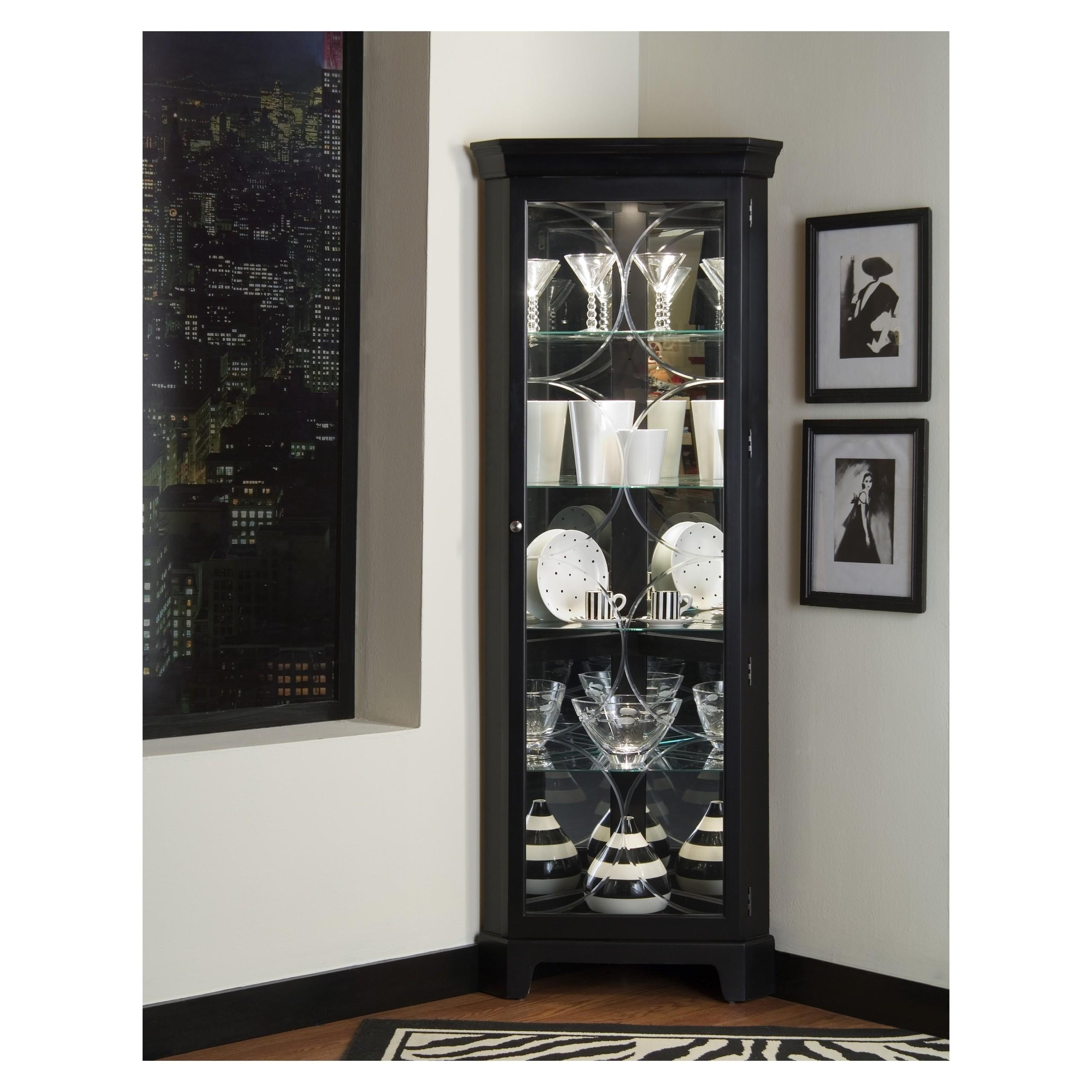 Attractive Oxford Black Corner Curio Cabinet