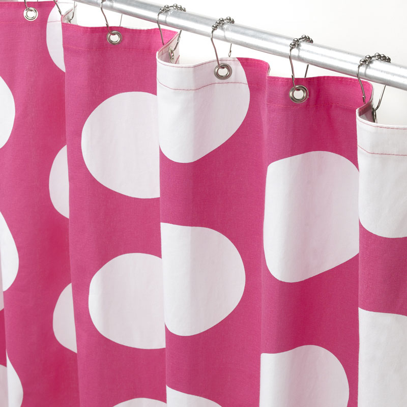 Superbe Pink And White Polka Dot Curtains