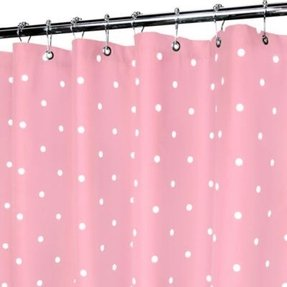 Pink and white polka dot shower curtain