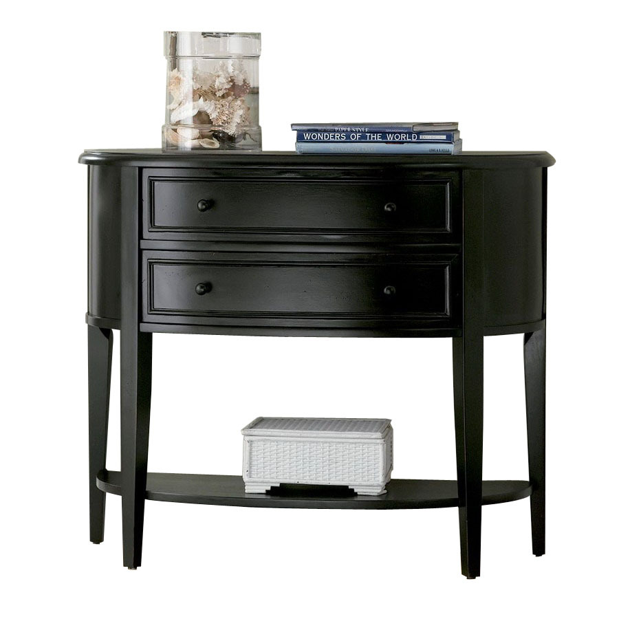 Beau Powell Antique Black Rubberwood Half Round Console And Sofa Table