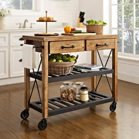 Rolling kitchen cart with drawers