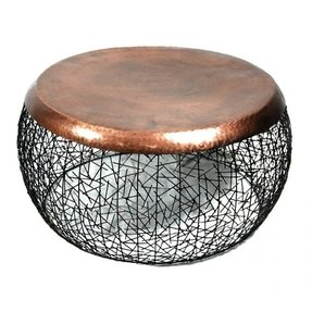 Round copper top coffee table 1