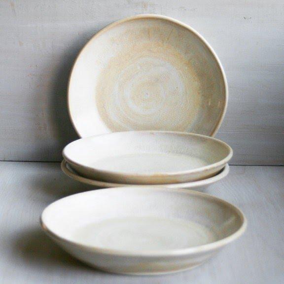 Rustic Creamy White And Honey Stoneware Dishes