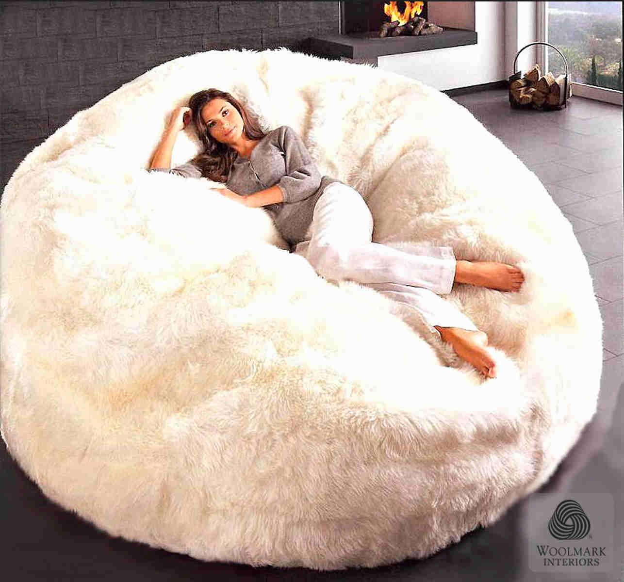 Beau Sheepskin Bean Bag Chair Cover Large Jumbo Designer Colors 6
